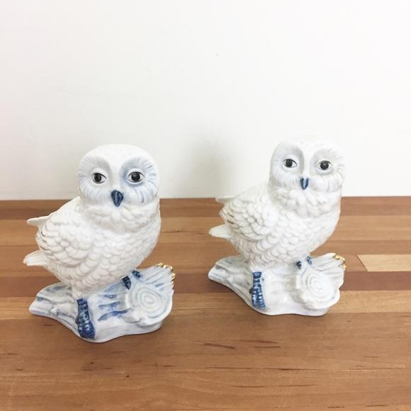 Vintage Snow Owl Ceramic Figurine Pair | 2
